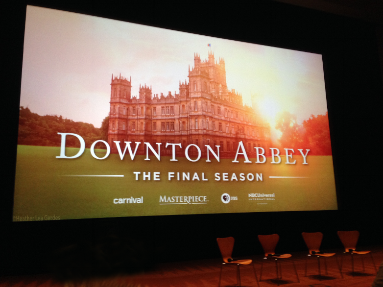 Downton Abbey FYC welcome screen and panel chairs at Linwood Dunn Theatre in Los Angeles, CA