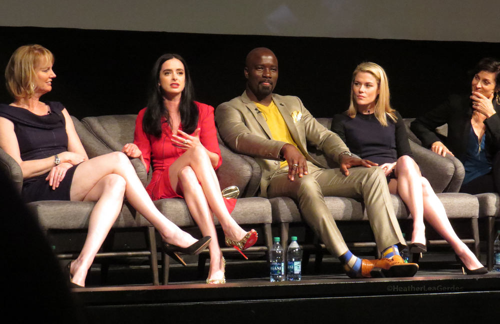 Melissa Rosenberg, Krysten Ritter, Mike Colter, Rachael Taylor, Carrie-Anne Moss during the Jessica Jones FYC in Los Angeles, CA