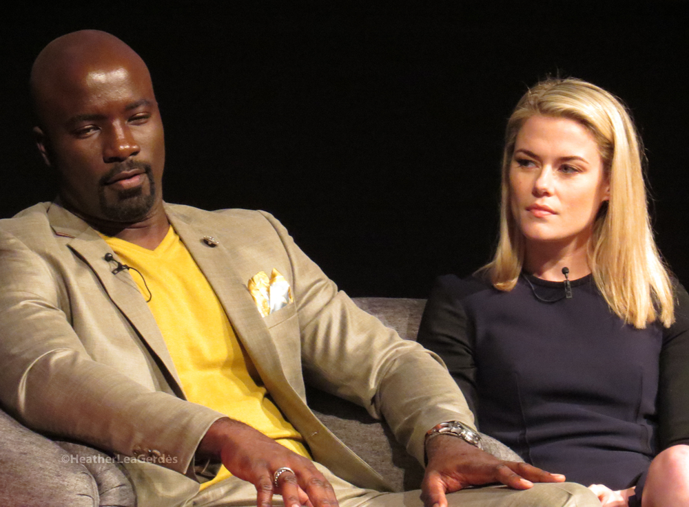 Mike Colter and Rachael Taylor at the Jessica Jones FYC in Los Angeles, CA