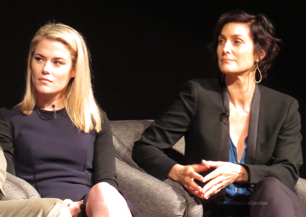 Rachael Taylor and Carrie-Ann Moss at the Jessica Jones FYC in Los Angeles, CA