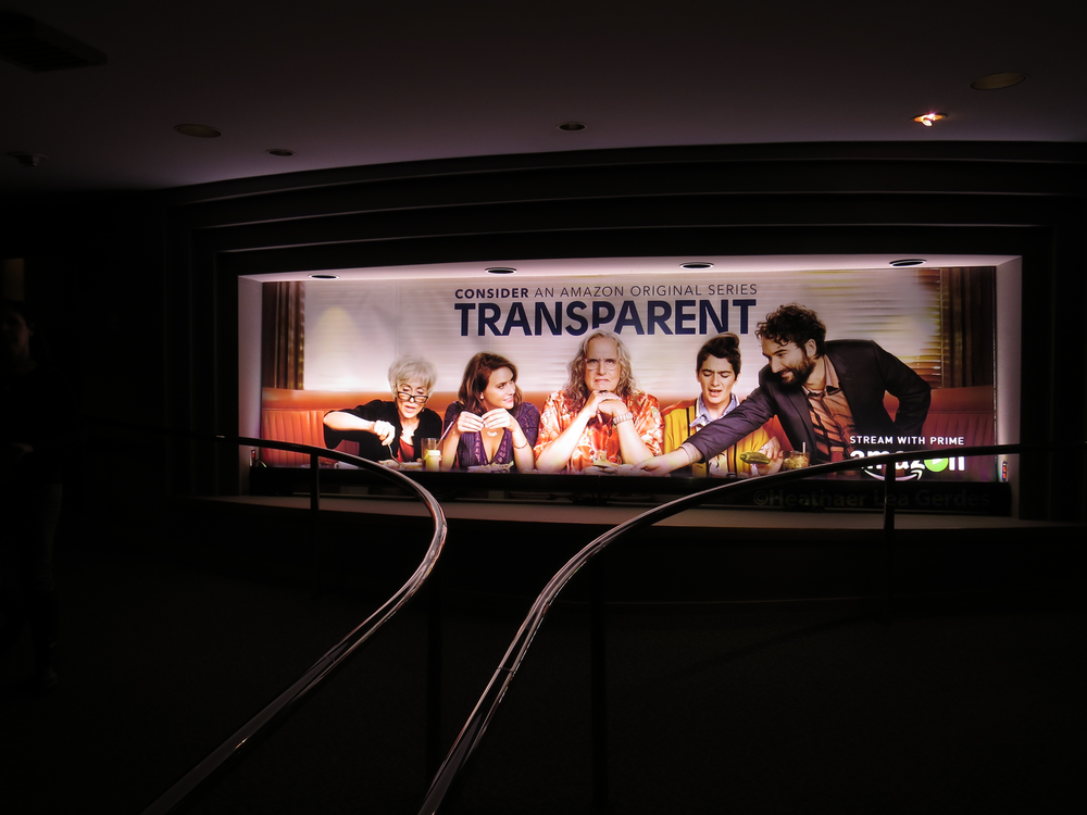 Even the typically barren internal DGA theatre entrance marquis was used for its intended purpose at the  Transparent  FYC.
