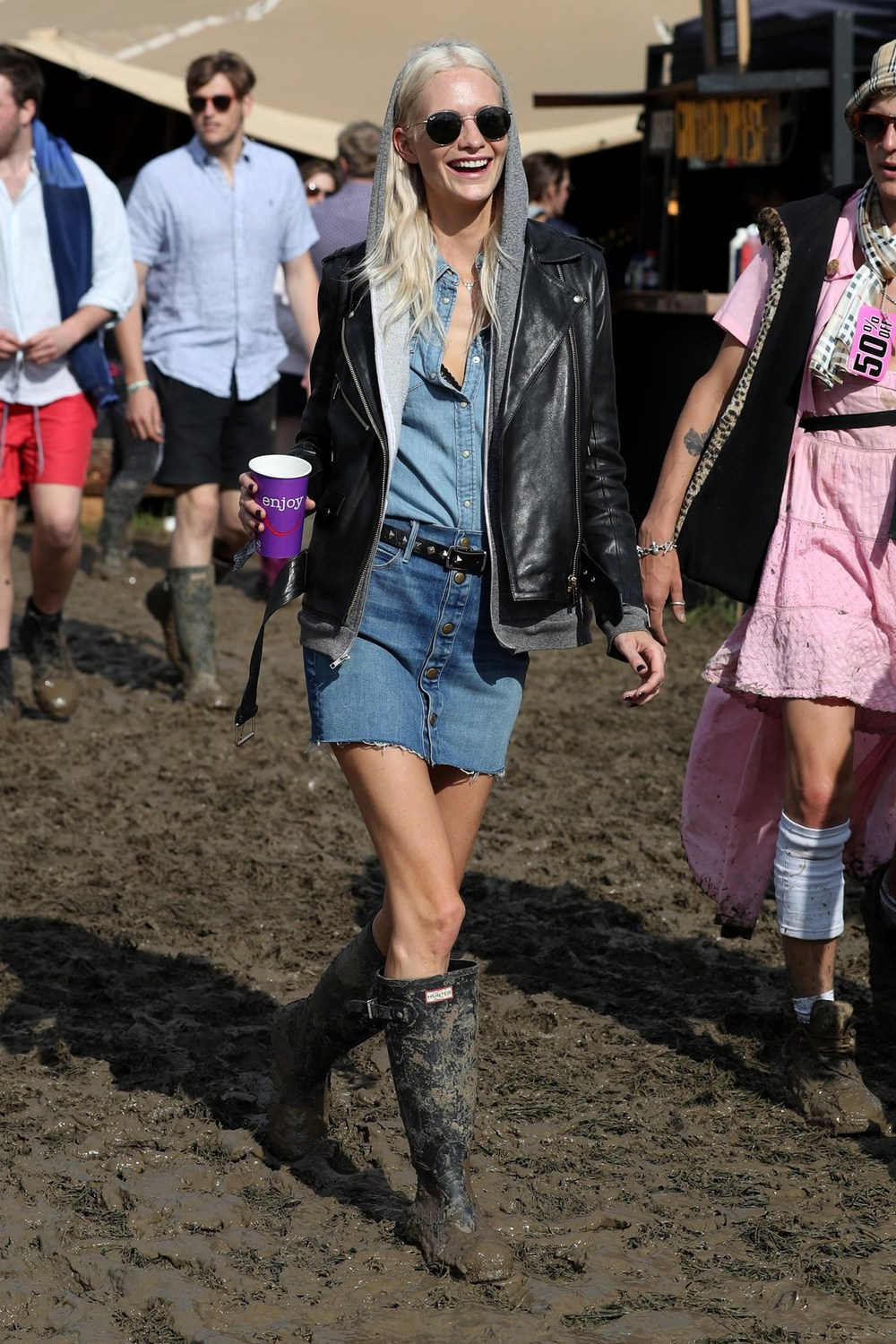 The ultimate Poppy Delevinge wearing double denim paired with an awesome leather jacket & hoodie