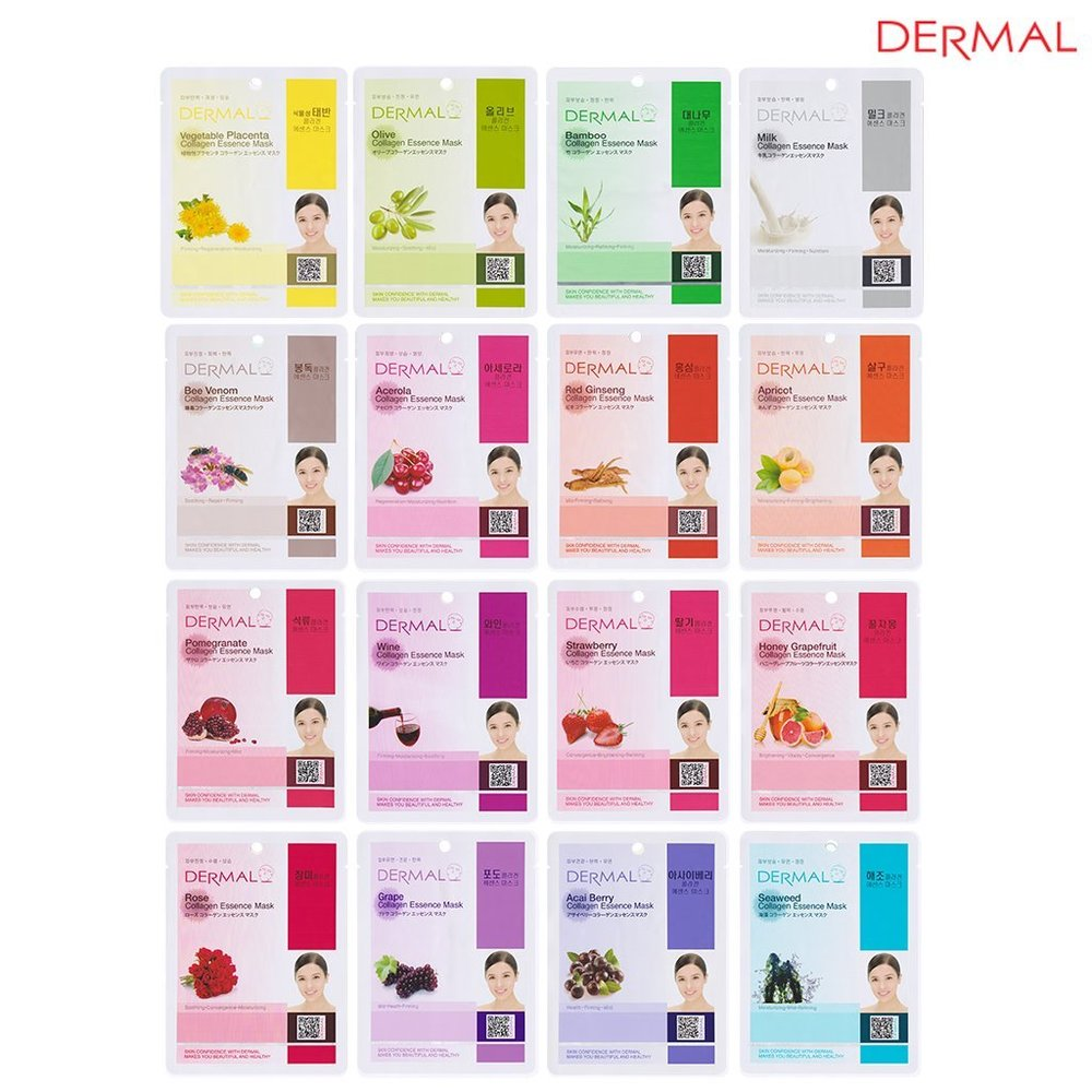 PRODUCT INFO: Dermal Collagen Essence Facial Mask keeps your skin moistened and relaxed. Contains vitamin E and collagen which keeps your tired skin lively and healthy. 16 different types of facial mask will help your skin more healthy, clear and elastic (as pictured) Good quality felt soaked with various minerals and ingredients is used for effective absorption. The eye area is not completely cut out - you can put it back to cover your eye lid.