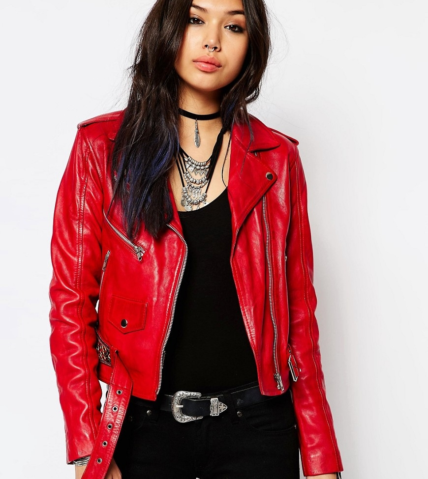 Milk It Vintage Leather Jacket With Zips & Festival Embelishment