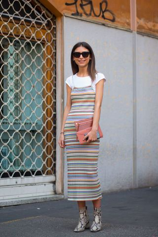 Really really into the dress over the white tee look. With a colorful dress like this, you can still emulate that holiday style while still look somewhat put together and ready to hit the office, grab drinks with a friend, or go shopping.