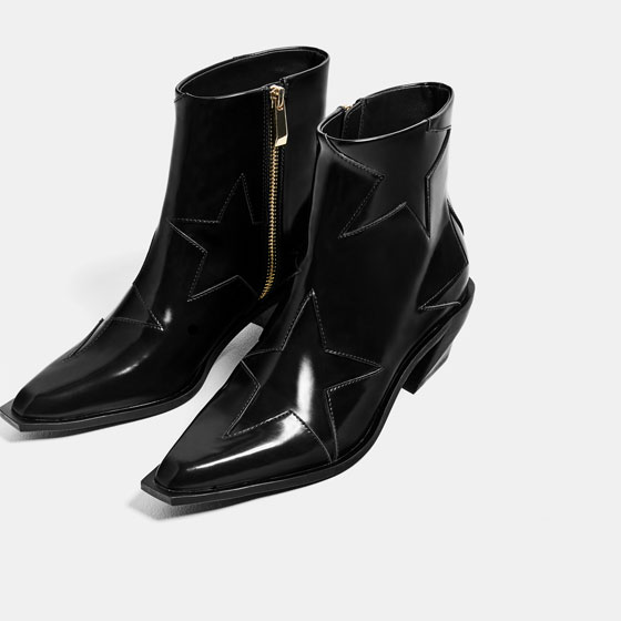Zara Stars High-Heel Ankle Boots