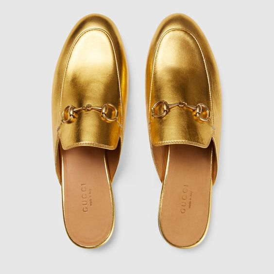 Gucci Princetown Horsebit Metallic Leather Slippers