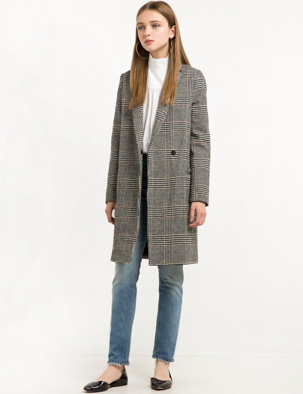 Pixie Market Houndstooth Long Blazer Coat
