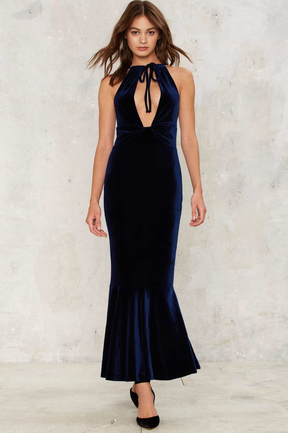 Nasty Gal Bid Adieu Velvet Maxi Dress