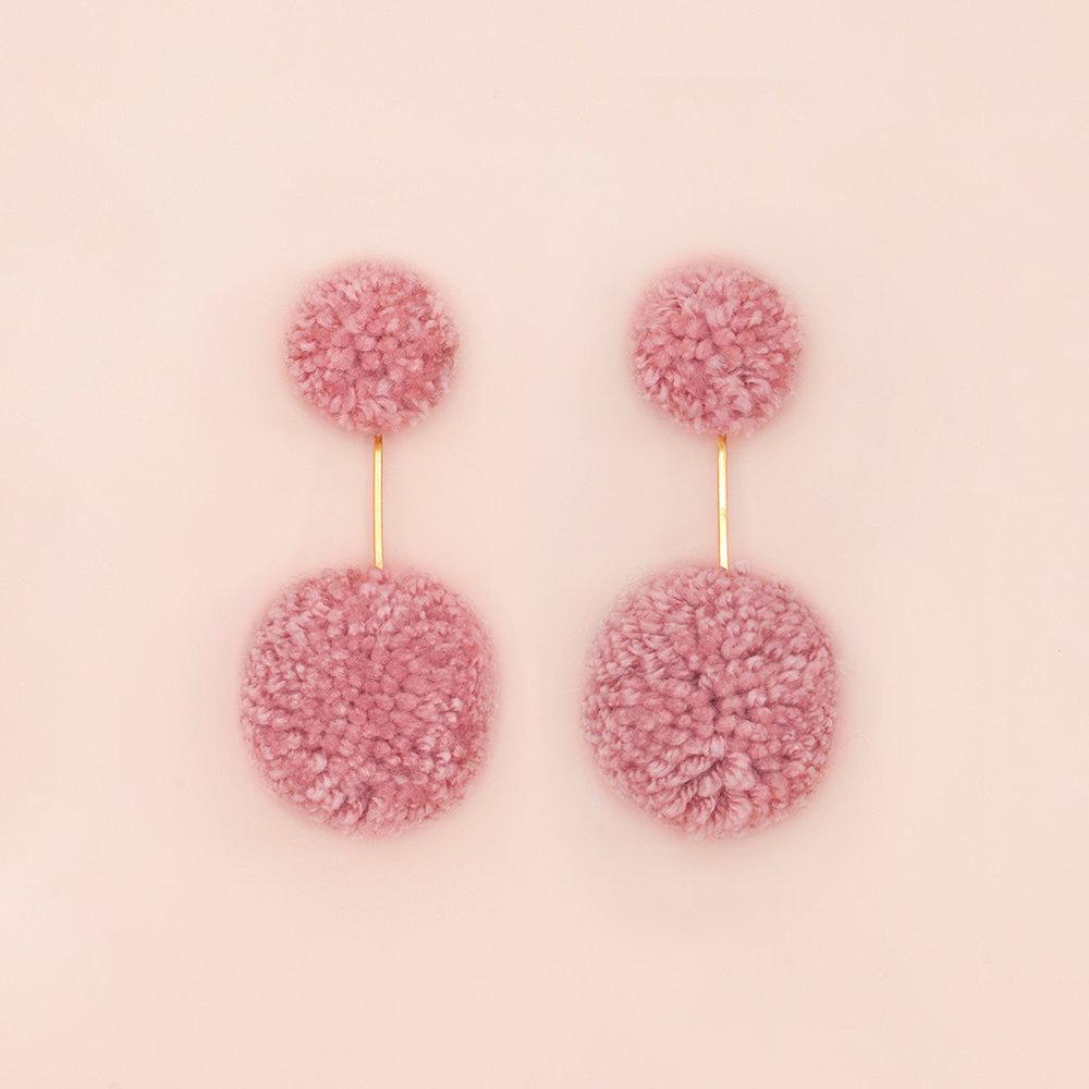 Bando Double Pop Pom Earrings