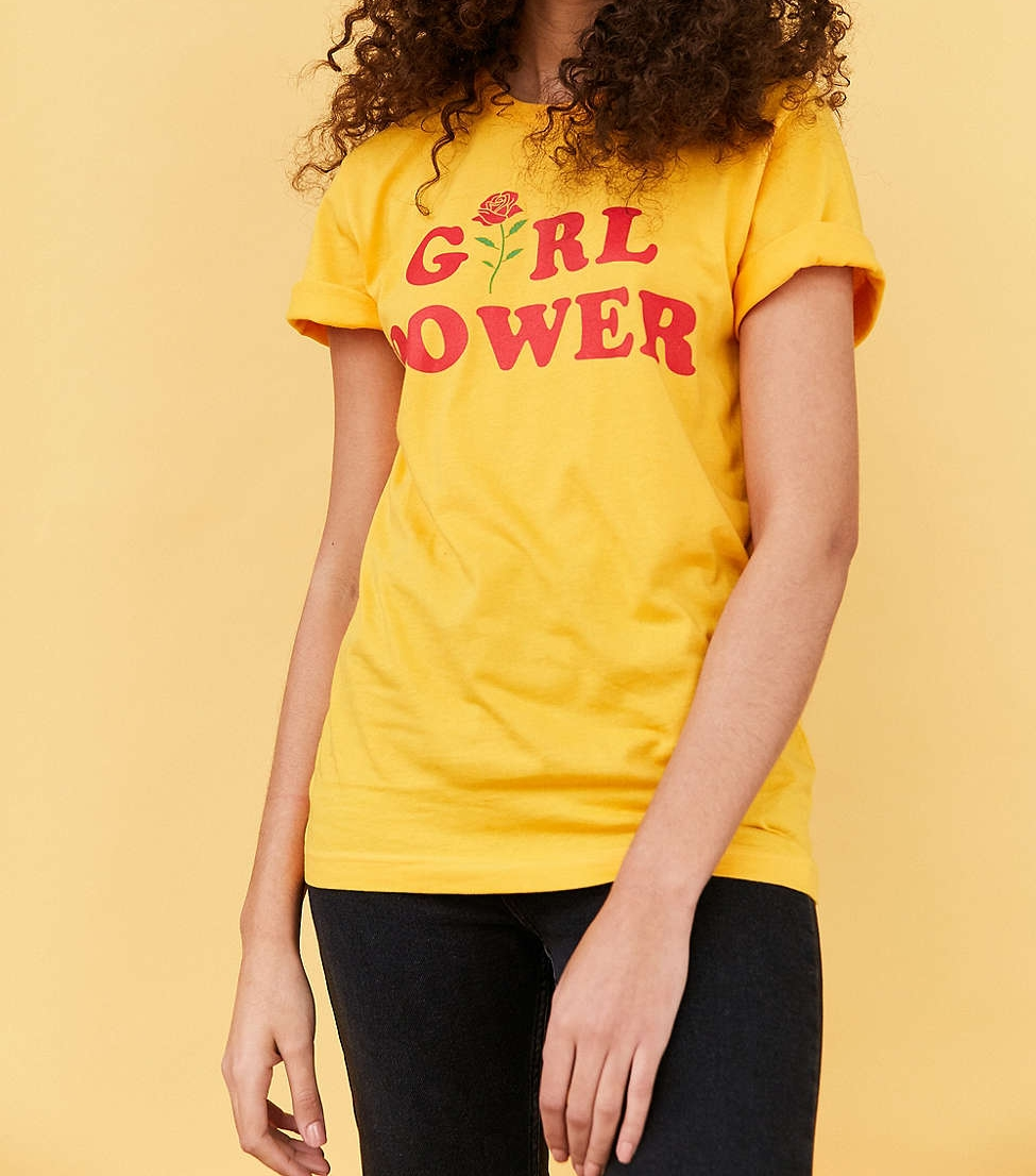 This Urban Outfitter tee comes in at $39 and is the perfect shade of yellow to brighten up your day. Of course we can't forget how dope the print is #GirlPowerForeverBaby