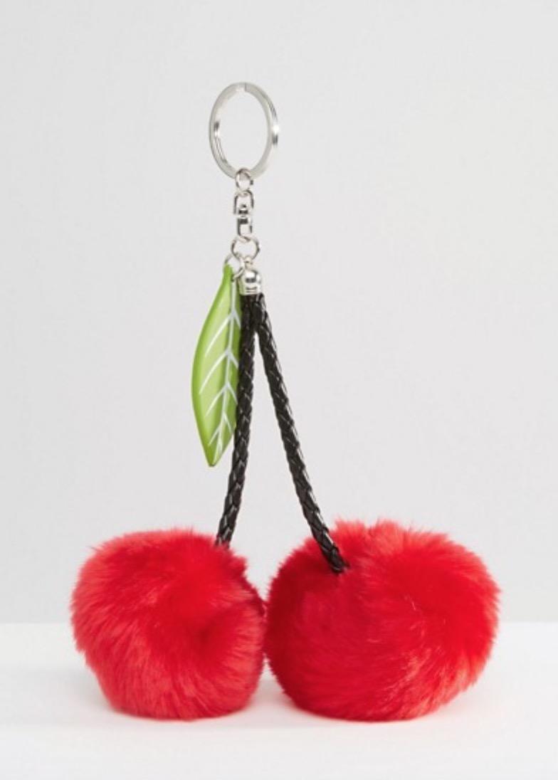 New Look Faux Fur Cherry Pom Keychain