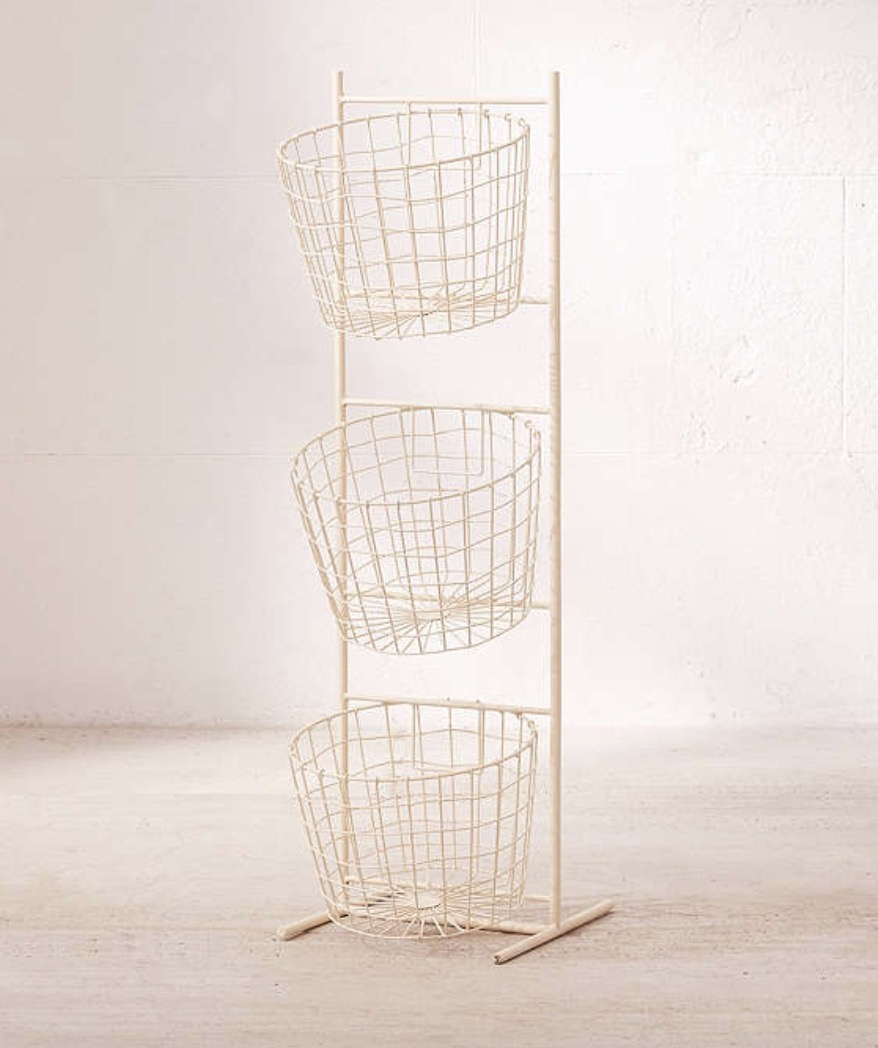 Urban Outfitters Organizer. Though this organizer is amazing, it can definitely look a bit cluttered if you're not careful! Try to make a point to have specific things in each basket to avoid a clutter corner.