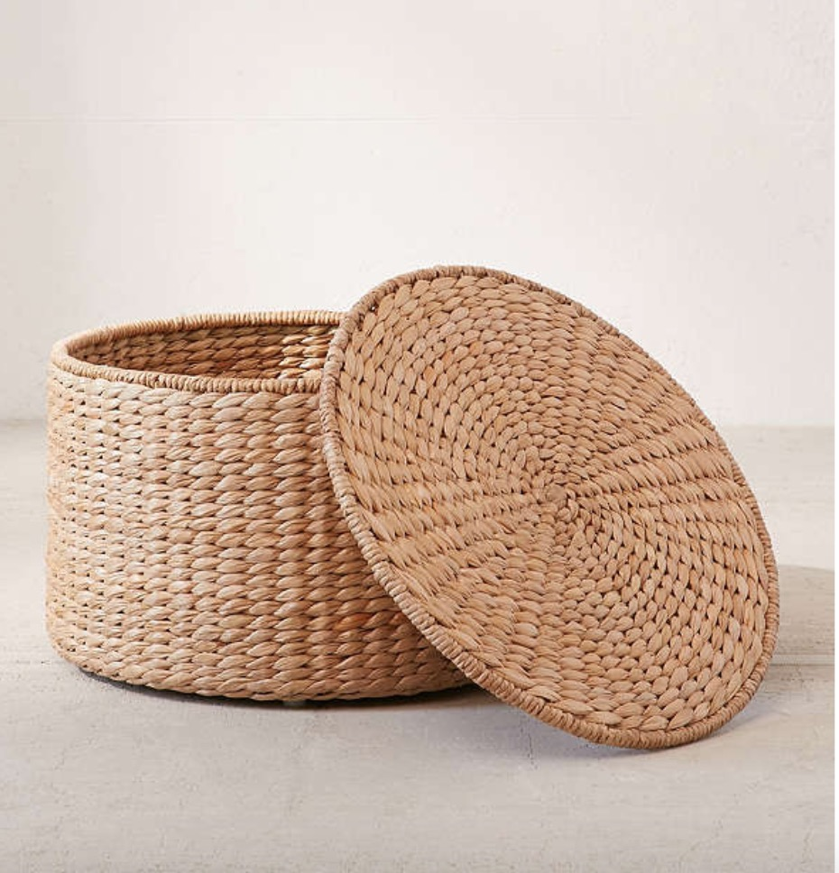 Urban Outfitters Woven Basket Organizer. If you have a larger room, this is great to put extra blankets, remotes, or any extras. You can place this in the middle of your room and place some books or candles atop, or go for a corner space in your room for the perfect clean look.