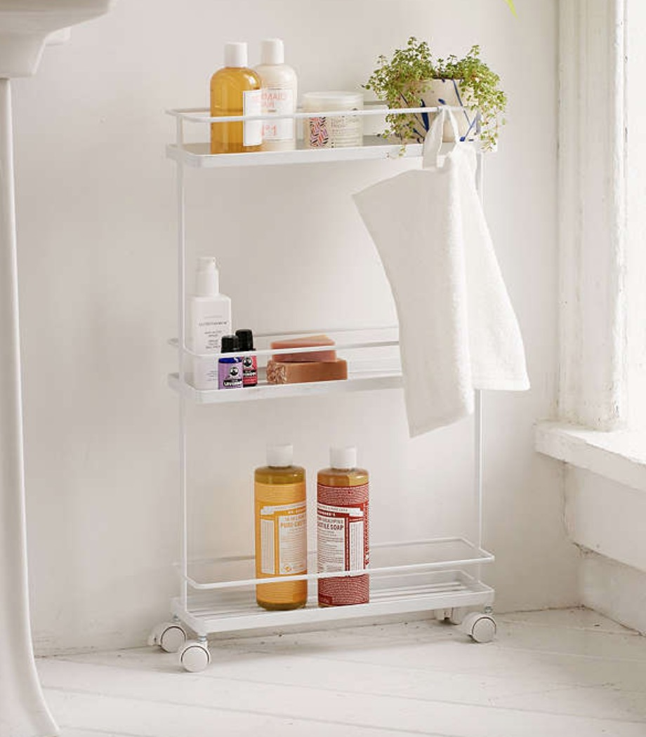 Urban Outfitters Bathroom Storage Cart. If you're like me, sometimes the bathroom can get a little bit hectic. Get a storage cart like this for easy access to products while also allowing for some organization.
