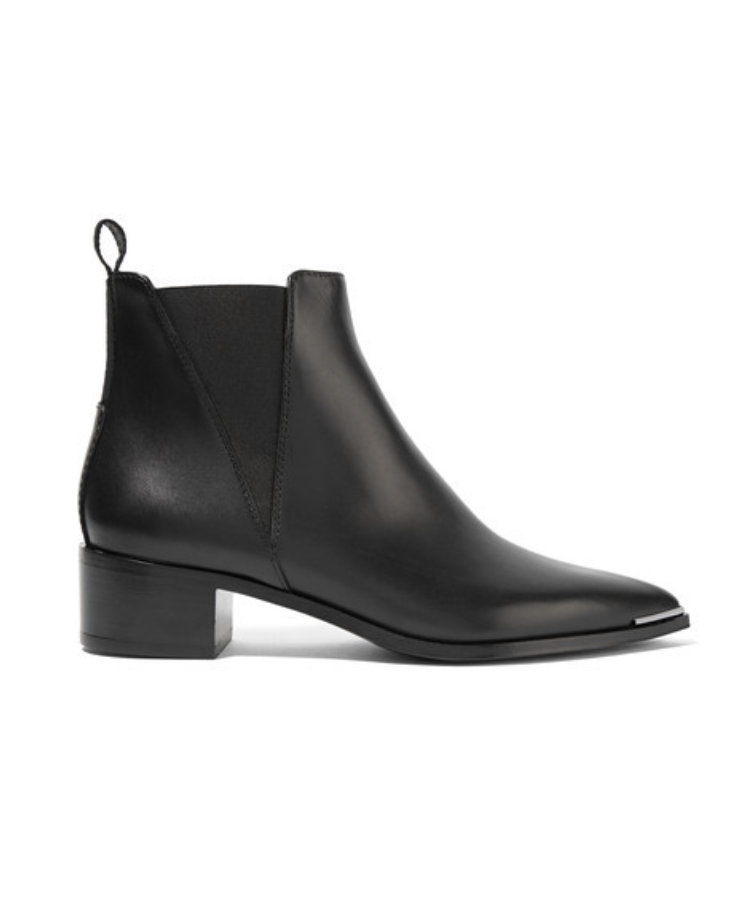 ACNE STUDIOS - JENSEN LEATHER ANKLE BOOTS - BLACK