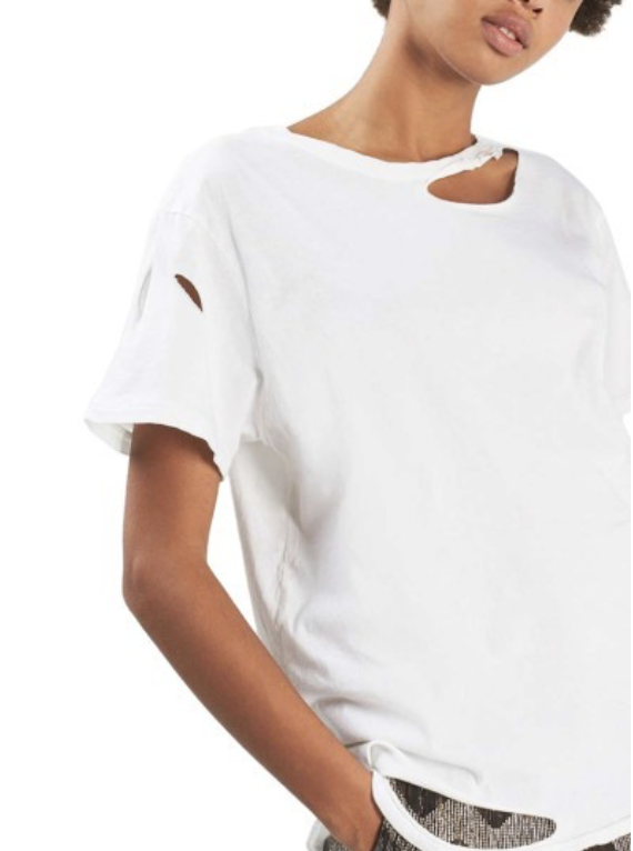 WOMEN'S TOPSHOP RIPPED COTTON TEE