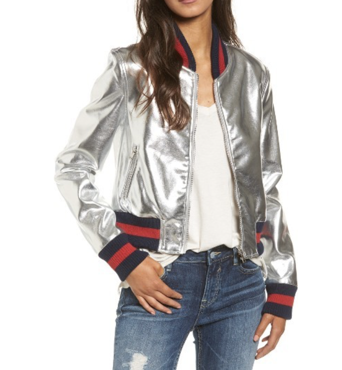 WOMEN'S TINSEL METALLIC FAUX LEATHER BOMBER