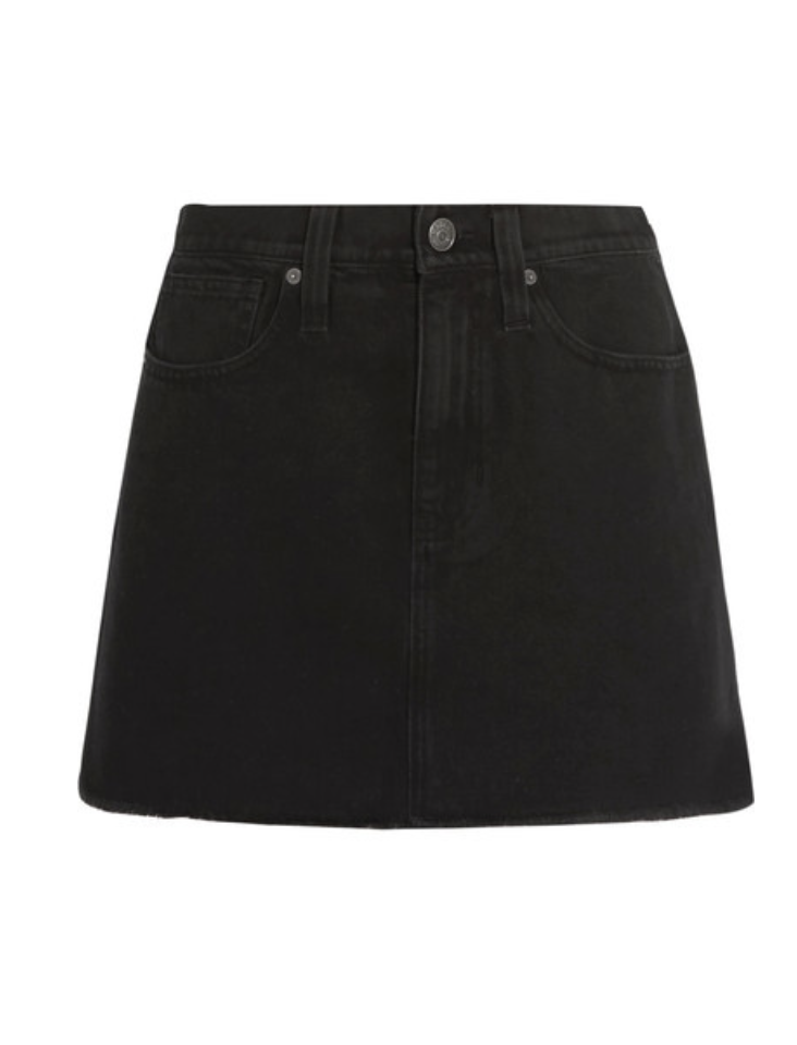 MADEWELL - FRAYED DENIM MINI SKIRT - BLACK