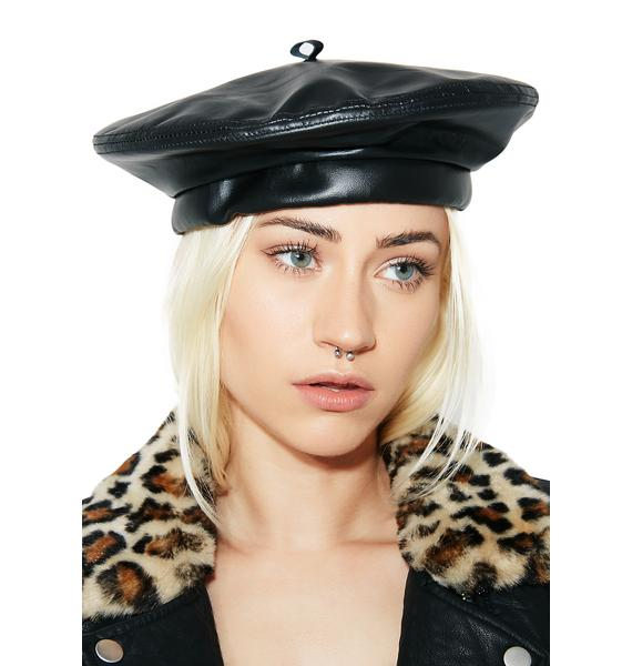 Black Panthers Leather Beret