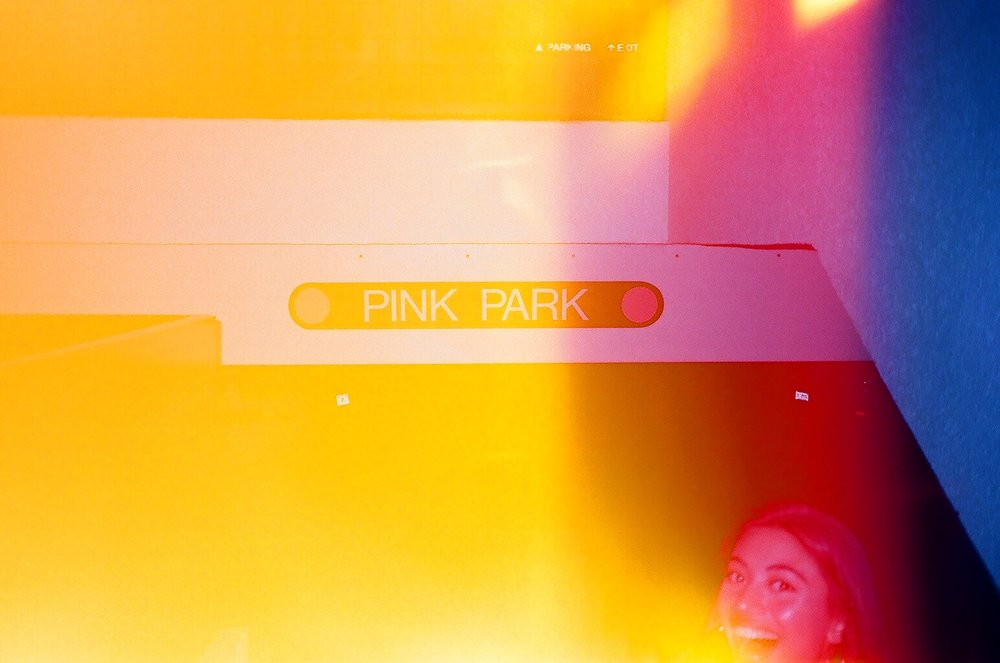 Bal Harbour. We parked in the Pink Park so I had to take a photo of Rachele in front of it.