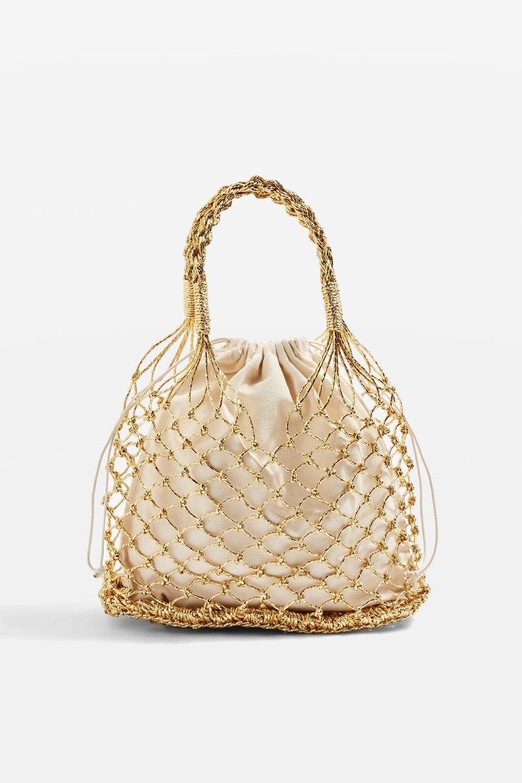 Topshop Shakira gold woven shopper bag $38