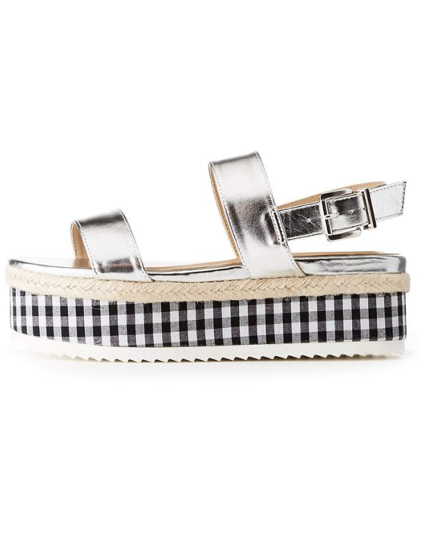 Metallic Gingham Platform Two-Piece Sandals $25.19