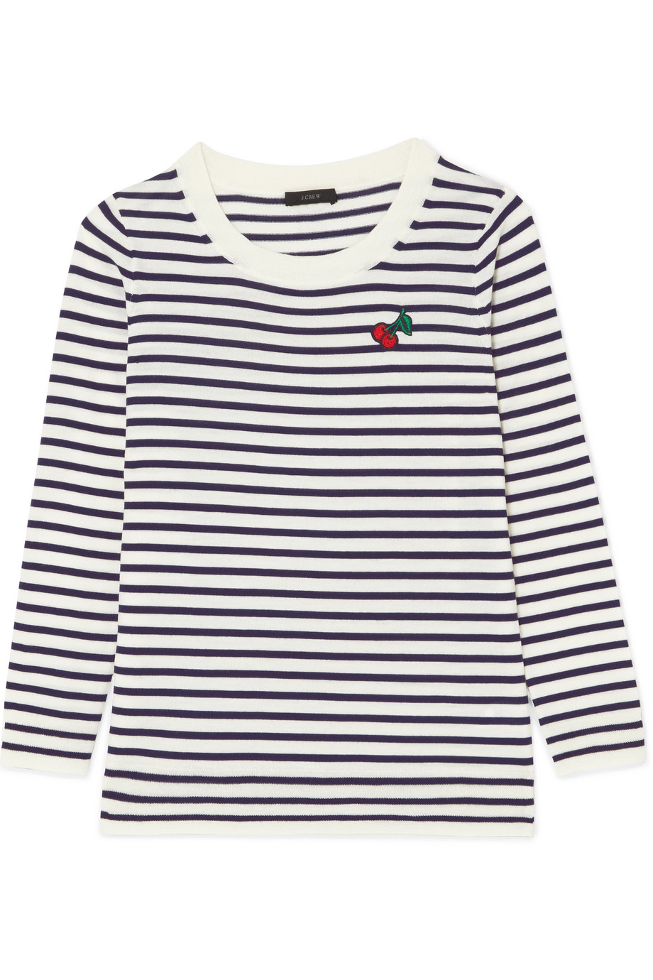 J.Crew - Appliquéd Striped Merino Wool Sweater - Midnight blue $85