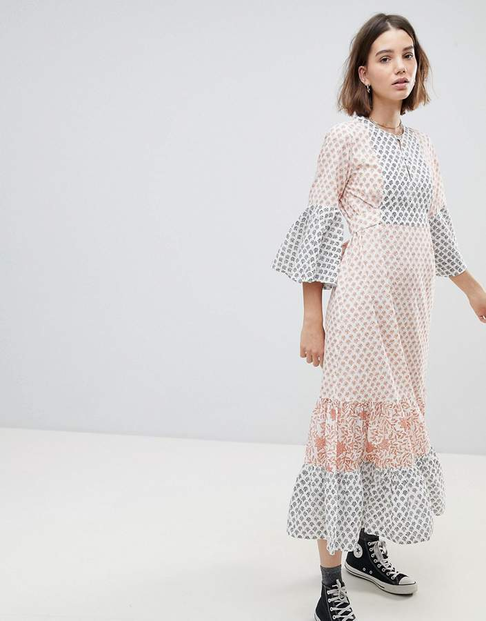 People Tree Maxi Tea Dress In Tile Print