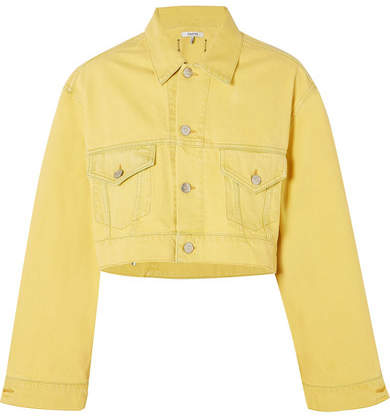 GANNI Cropped Denim Jacket Yellow