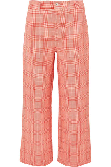 GANNI Garvey Checked Cady Wide-leg Pants