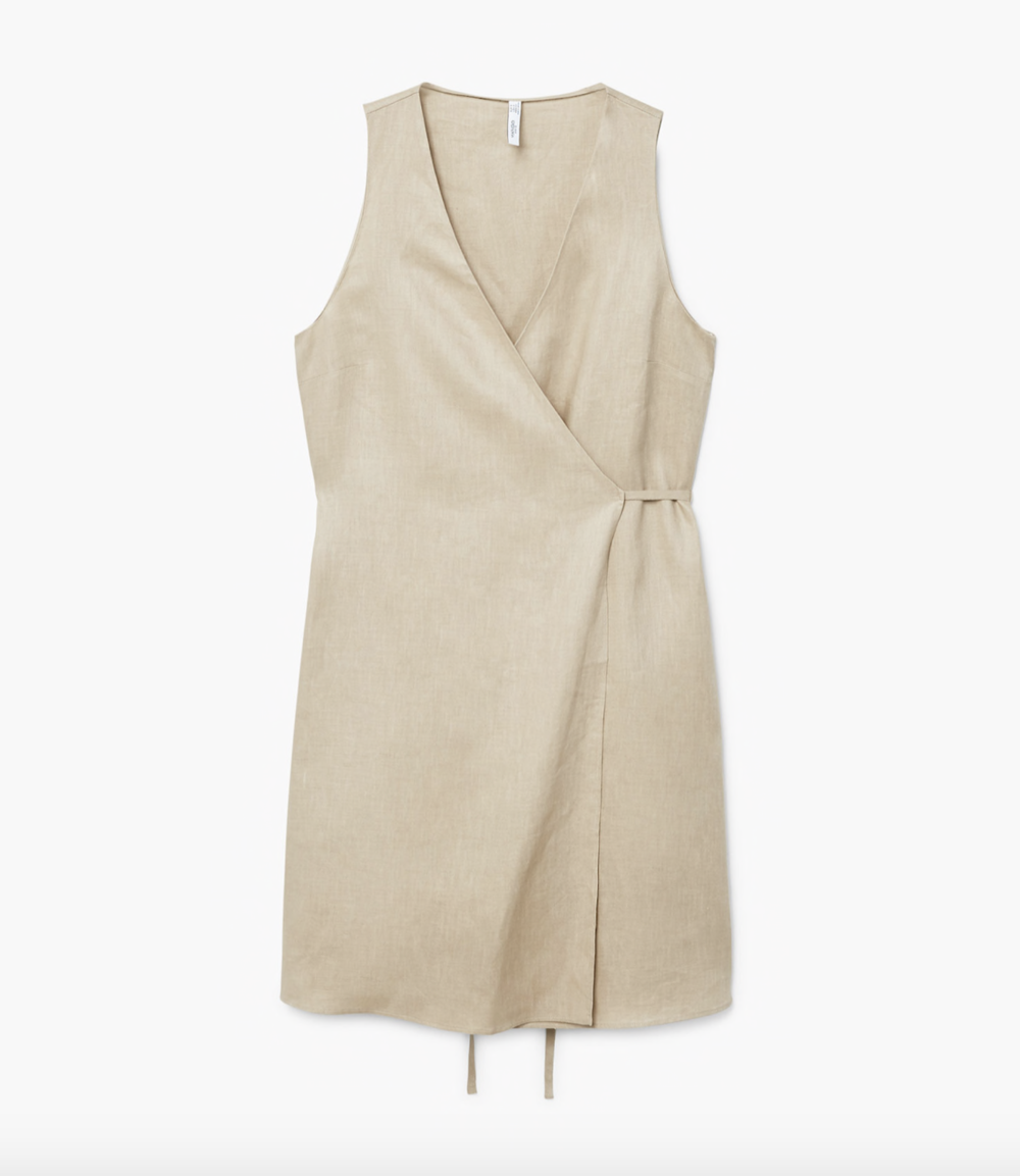 MANGO Linen wrap dress