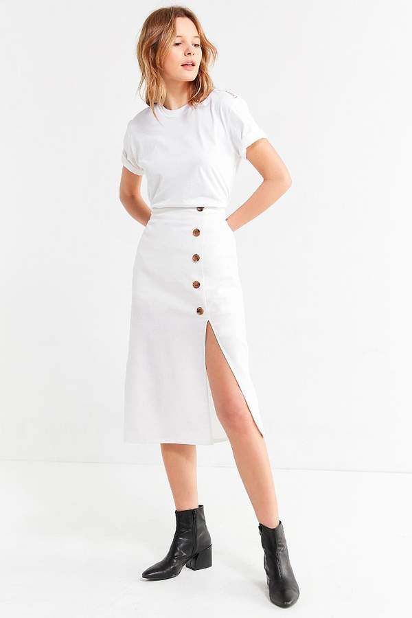 BOG Collective Button-Down Linen Midi Skirt