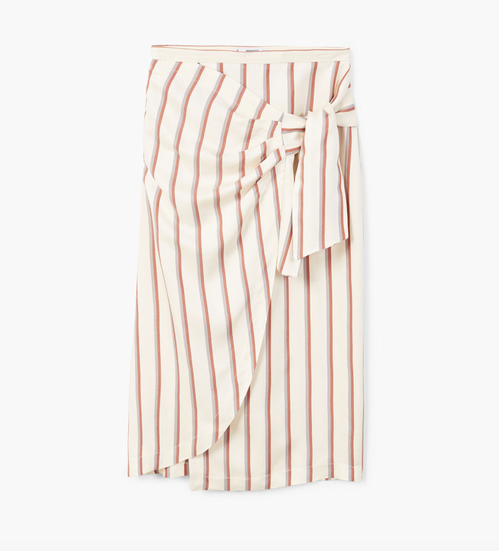 MANGO Striped bow skirt