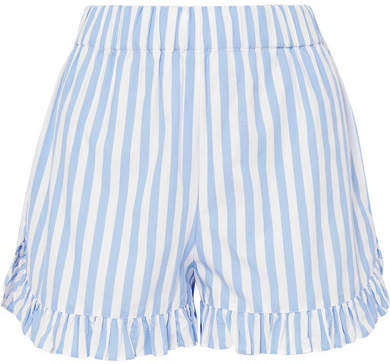 GANNI Swimton Ruffled Striped Cotton Shorts