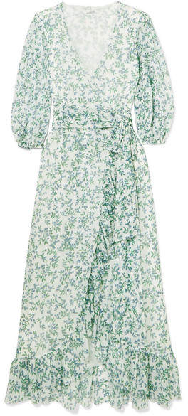GANNI Tilden Floral Mesh Wrap Dress