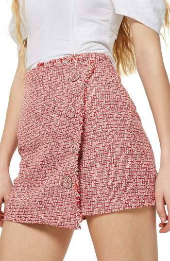 Topshop Boucle Asymmetrical Wrap Miniskirt