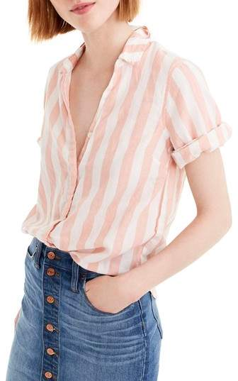 J.Crew Wide Stripe Short Sleeve Button-Up Shirt