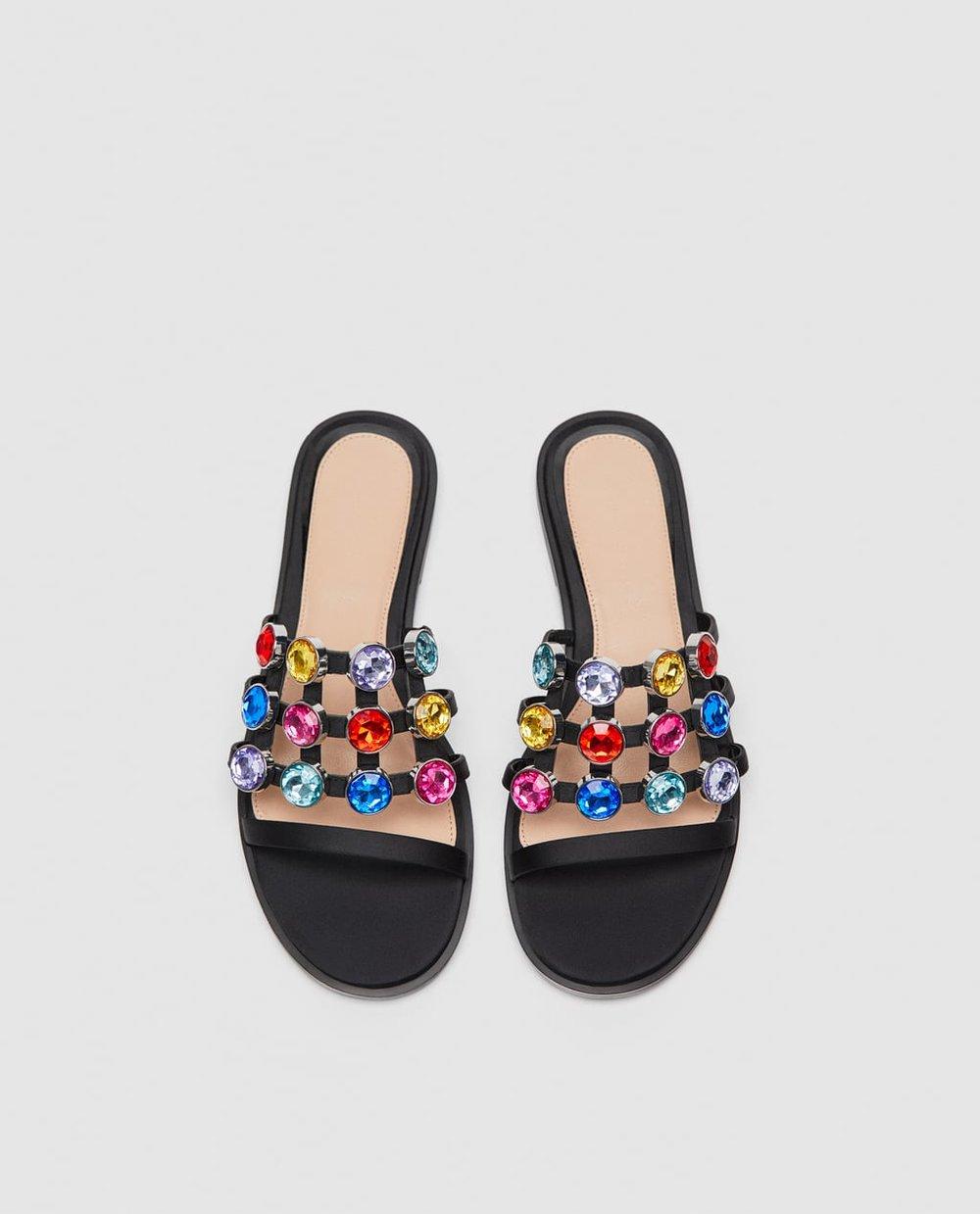 Zara Multicolored Bejeweled Slides