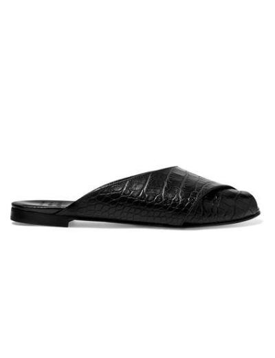 Trademark Pajama Croc-effect Leather Sandals
