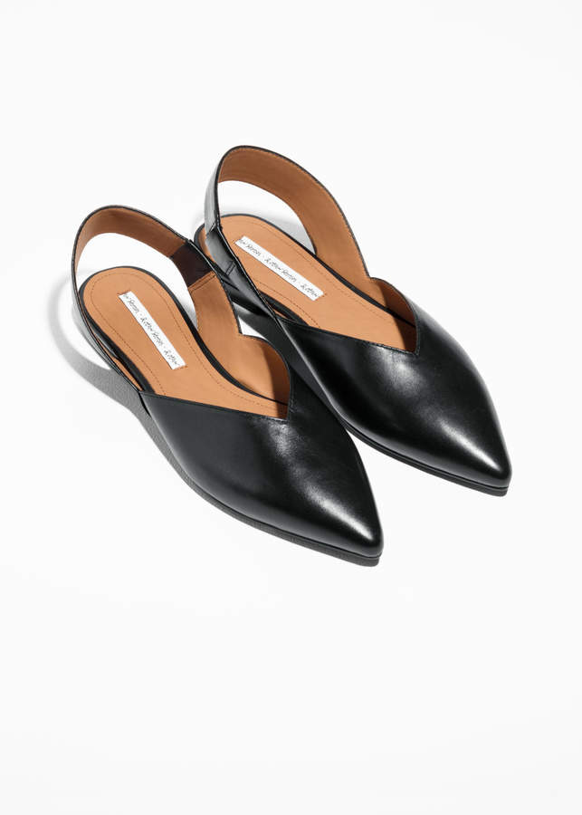 & Other Stories Sling-back Leather Flat