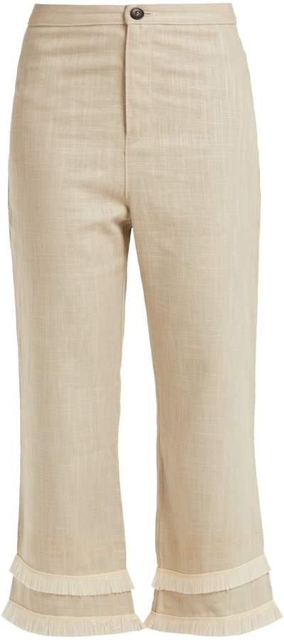 STAUD Cassie raffia-trimmed linen-blend trousers