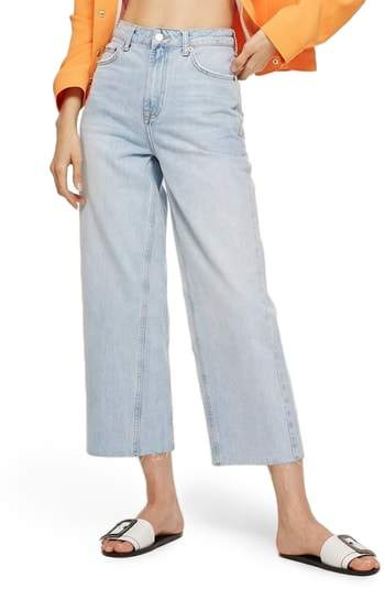 Topshop MOTO Wide Leg Crop Non-Stretch Jeans