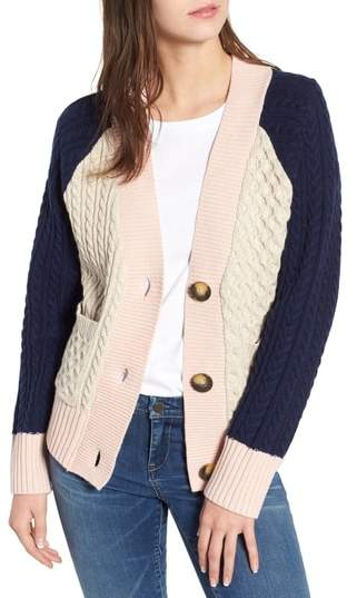 BP. Colorblock Cable Knit Button Cardigan
