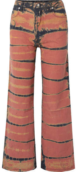 Eckhaus Latta Cropped Tie-dyed High-rise Wide-leg Jeans