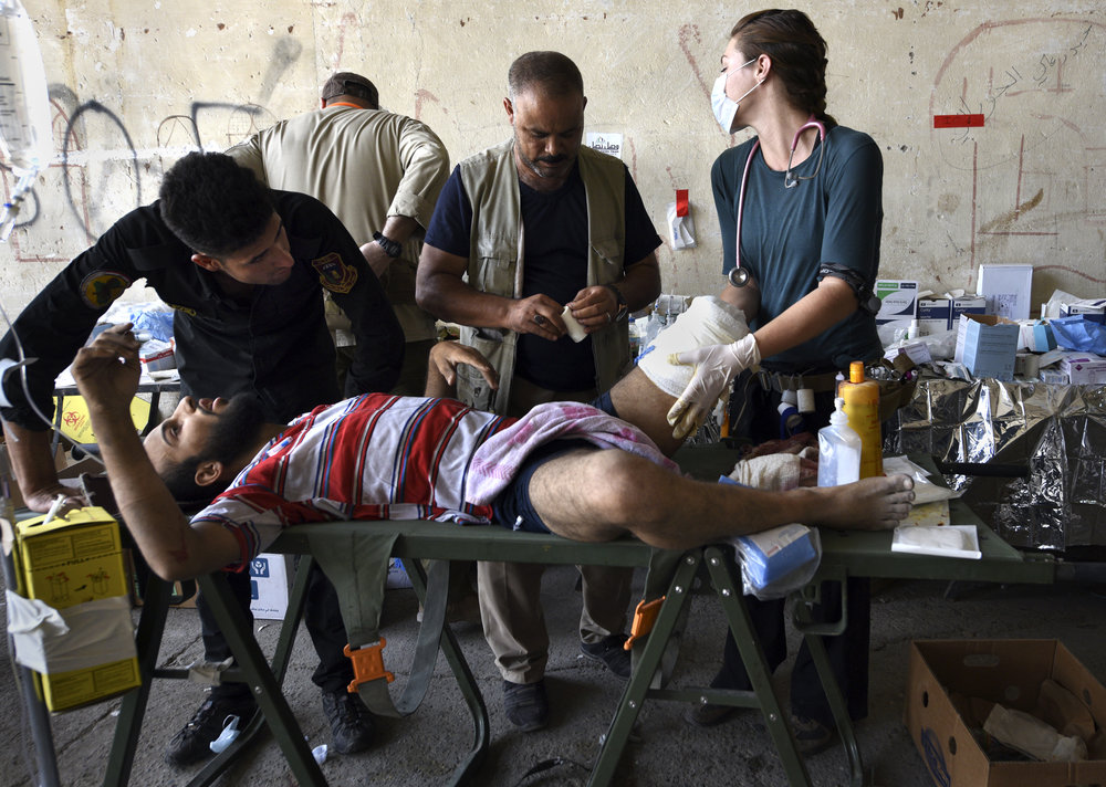 GRM Team Members providing critical emergency care in Iraq