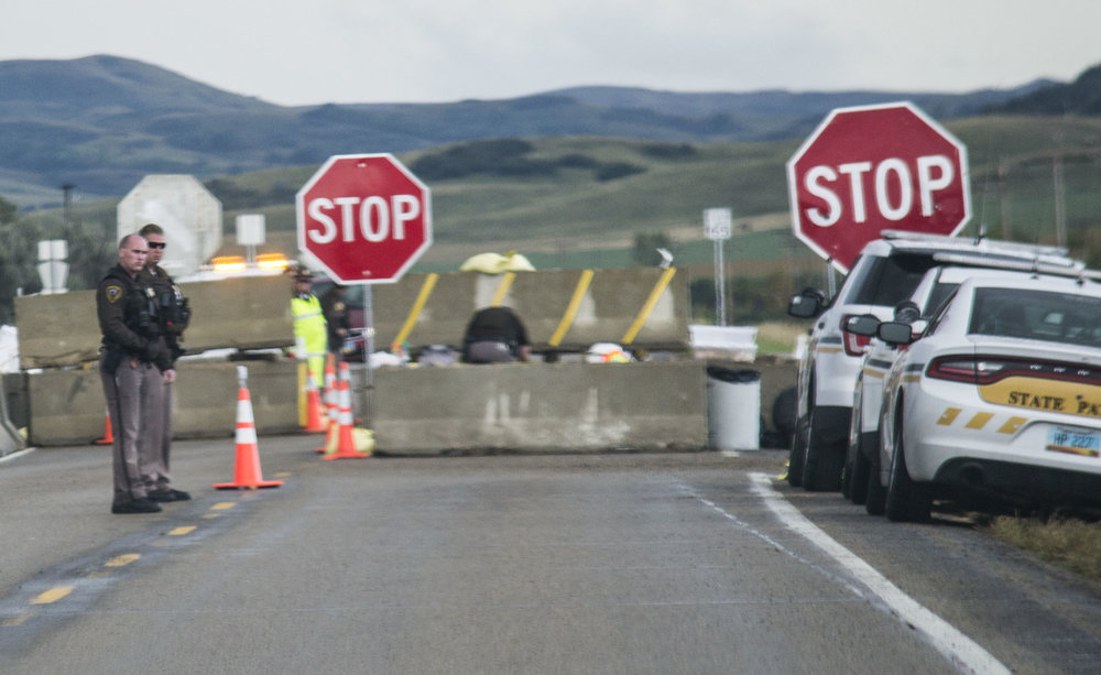 Police roadblocks in both directions, which diverted the traffic, making the drive to Standing Rock longer.