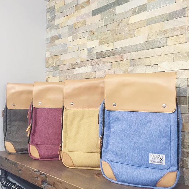 NEW Venque Bags have arrived in store!! Beautiful backpacks from a new Toronto-based company. The colours are beautiful, the quality is amazing, and the details are well thought. We have a few more styles -- come see! 🎒