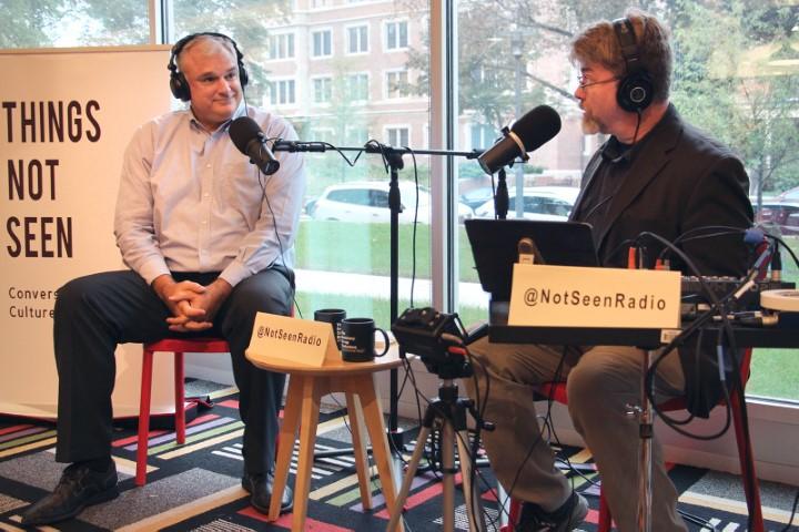 Host David Dault interviewing John Fea. Photo by Emily McFarlane Miller, Religion News Service