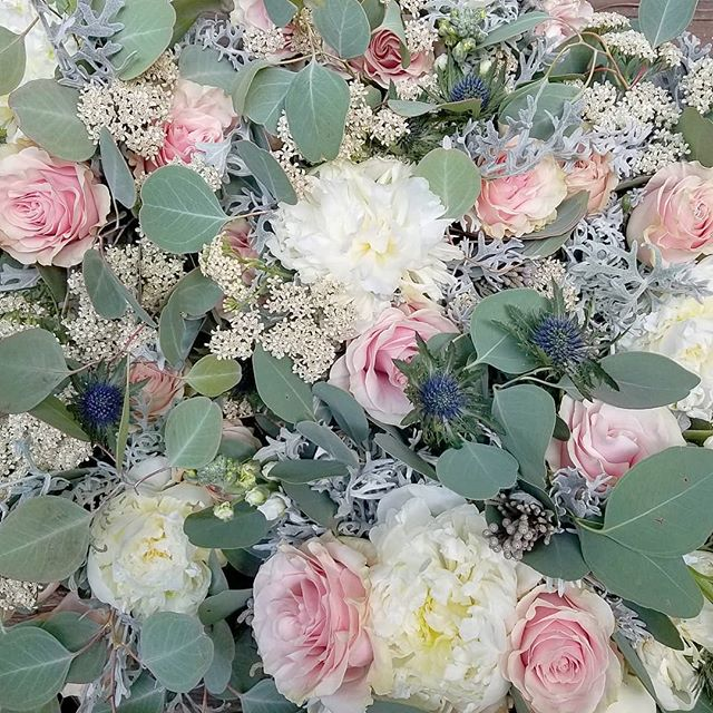 a sneak peek at today's wedding.. #junewedding #junebride #summerwedding #blushwedding #roses #peonies #navyandblush #thiatle #riceflower #bridalparty #bridesmaids #bridalbouquet #eucalyptus #silverbrunia #silverdollareucalyptus #raleighflowers #raleighwedding #oakcity